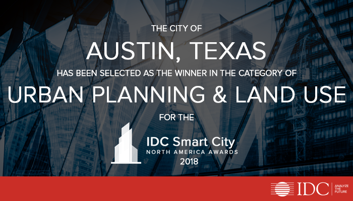 Austin, TX Wins IDC's 2018 Smart Cities North America Award